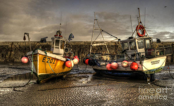 Lyme Poster featuring the photograph Fishing Boats On The Cobb by Rob Hawkins