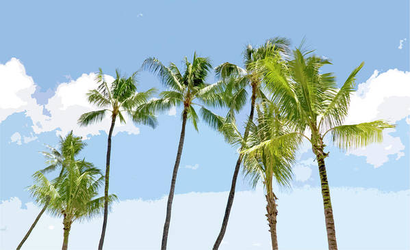 Hawaii Poster featuring the painting Hawaiian Palm Trees by Glennis Siverson