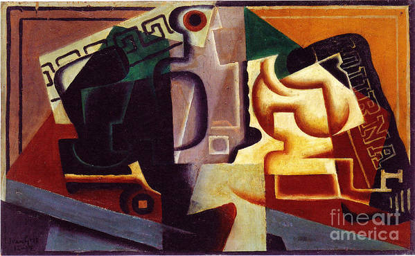 Composition Paintings Poster featuring the painting Juan Gris Glas Und Karaffe by Pg Reproductions
