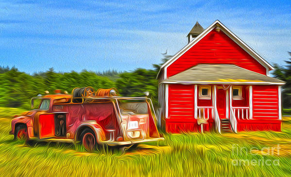 Klamath Poster featuring the painting Klamath Old Fire Truck And Red School House by Gregory Dyer