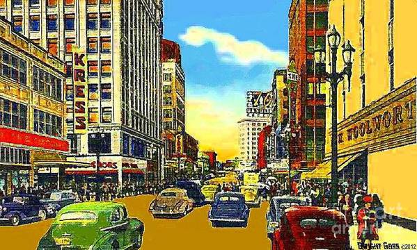 Department Stores Poster featuring the painting Kress And Woolworth's Stores In Seattle Wa In 1950 by Dwight Goss