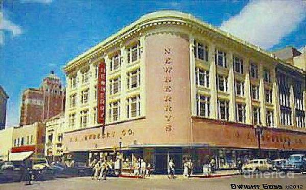 Department Stores Poster featuring the painting Newberry's Department Store In El Paso Tx In The 1950's by Dwight Goss