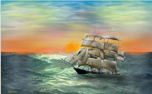 Tall Sail Ship Poster featuring the digital art Open Seas by Diane Haas