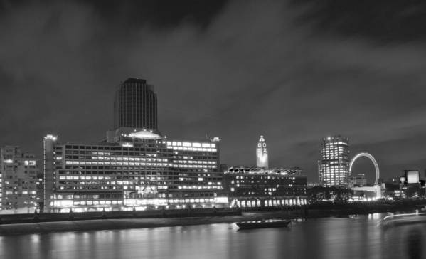Oxo Poster featuring the photograph Oxo Tower Night Bw by David French