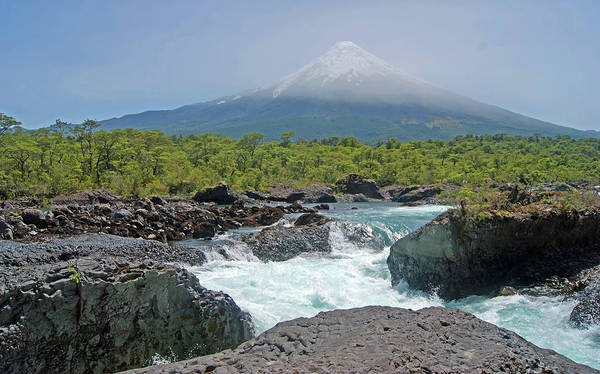 Horizontal Poster featuring the photograph Petrohue Falls And Osorno Volcano by Pcontreras