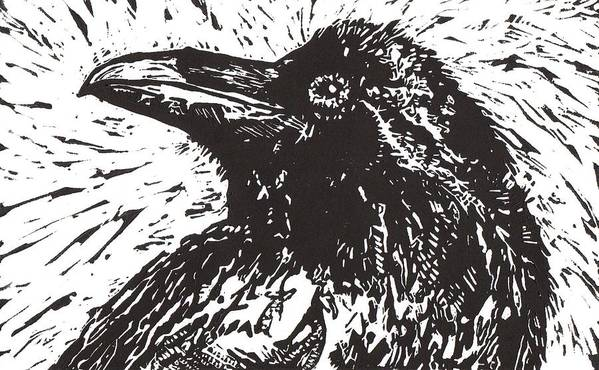 Linocut Poster featuring the mixed media Raven by Julia Forsyth