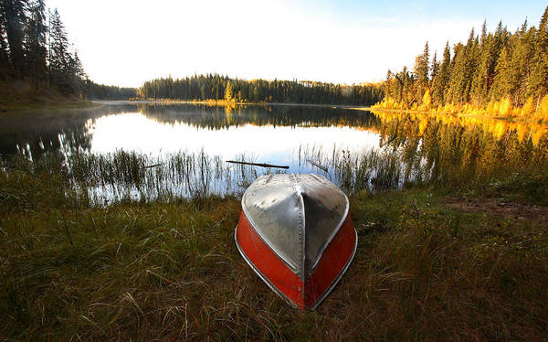 Rowboat Poster featuring the photograph Rowboats At Jade Lake In Northern Saskatchewan by Mark Duffy