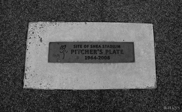 Shea Stadium Poster featuring the photograph Shea Stadium Pitchers Mound In Black And White by Rob Hans