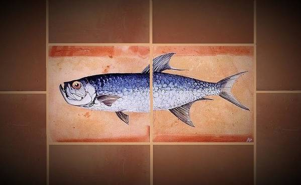 Fish On Hand Made Terracotta Tiles Poster featuring the painting Tarpan by Andrew Drozdowicz