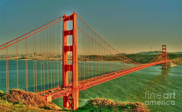 Golden Gate Bridge Poster featuring the digital art The Golden Gate Bridge Summer by Alberta Brown Buller
