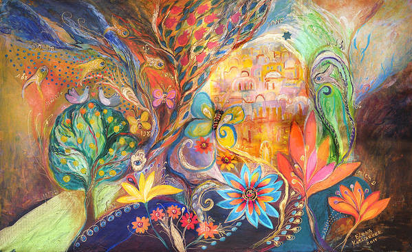 Original Poster featuring the painting The Golden Jerusalem by Elena Kotliarker