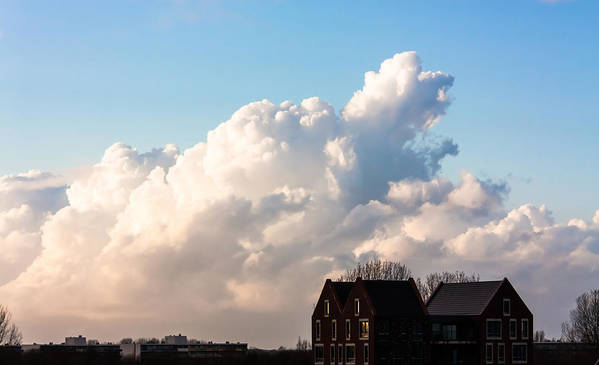 Blue Poster featuring the photograph Two Houses One Cloud by Semmick Photo