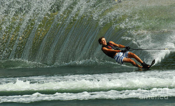 Water Skiing Poster featuring the photograph Water Skiing Magic Of Water 1 by Bob Christopher