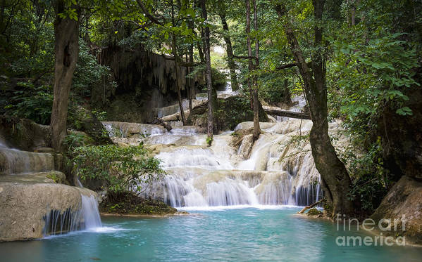 Thailand Poster featuring the photograph Waterfall In Deep Forest by Setsiri Silapasuwanchai
