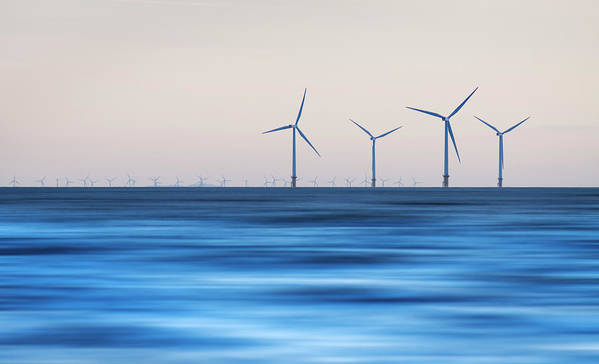 Horizontal Poster featuring the photograph Windturbines, Burbo Bank, Crosby by Ian Moran