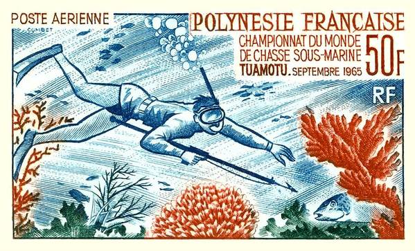 Tahiti Poster featuring the digital art 1965 French Polynesia Spearfishing Postage Stamp by Retro Graphics