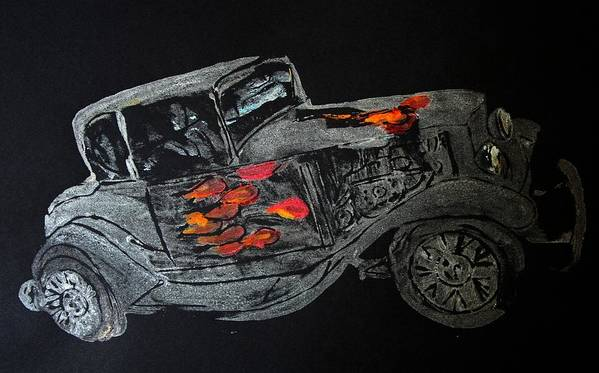 Car Prints Poster featuring the painting Ghost On Fire by Ana Bikic
