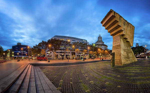 Architecture Poster featuring the photograph Panorama Of Placa De Catalunya In The Morning, Barcelona, Spain by Andrey Omelyanchuk