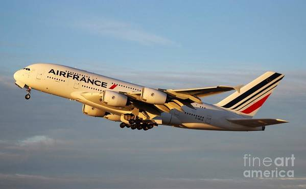Air France Poster featuring the photograph Air France A 380 by John Linder