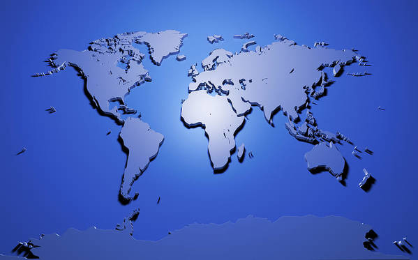 Map Of The World Poster featuring the digital art World Map In Blue by Michael Tompsett