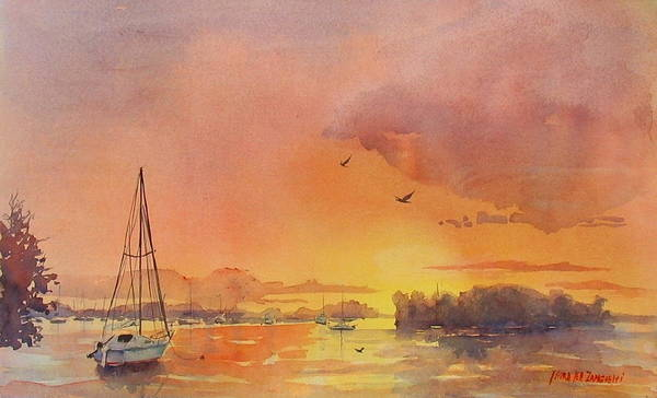 Seascape Poster featuring the painting A Hingham Sunset by Laura Lee Zanghetti