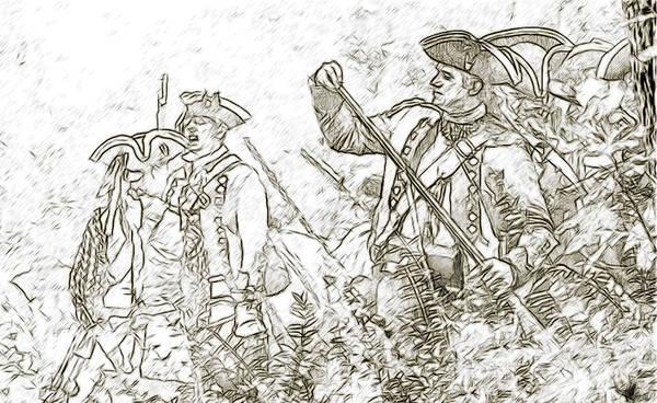 Uniform Poster featuring the digital art American Revolution Battle Sketch by Randy Steele