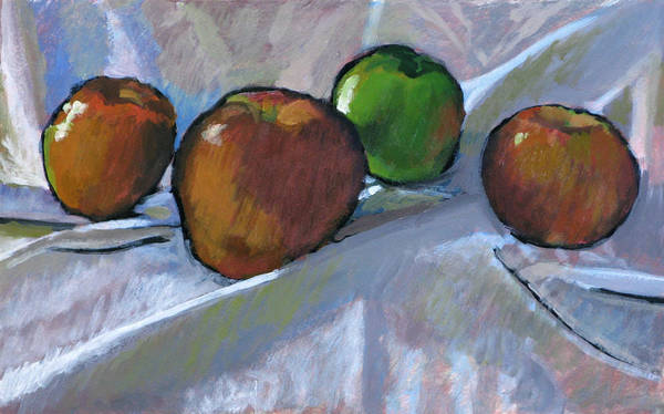 Apple Poster featuring the painting Apples On Cloth by Robert Bissett