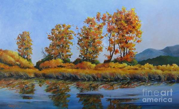 Landscape Poster featuring the painting Autumn At Fraser Valley by Marta Styk