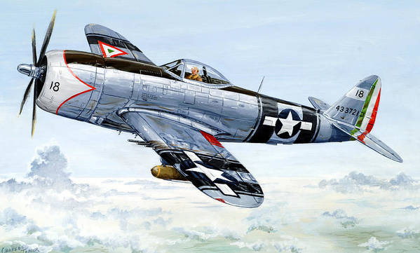 P-47 Poster featuring the painting Aztec Eagle by Charles Taylor