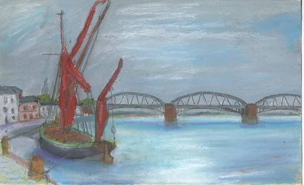 Landscape Poster featuring the painting Barnes Bridge by Bernard Victor