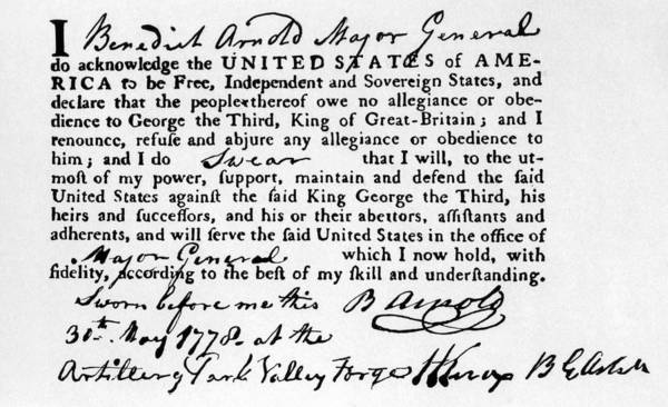 18th Century Poster featuring the photograph Benedict Arnolds Oath Of Allegiance by Everett