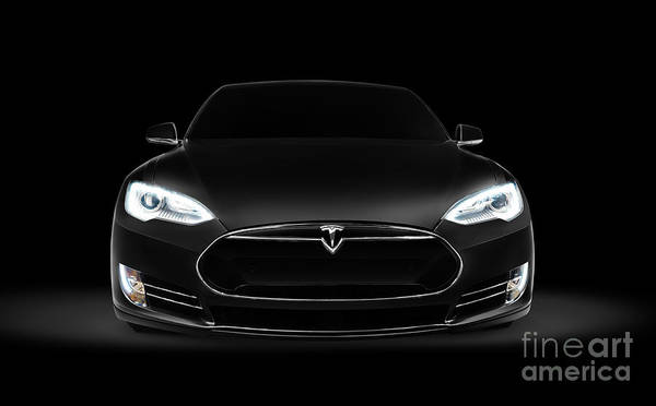 Black Tesla Model S Luxury Electric Car Front View Poster By Oleksiy