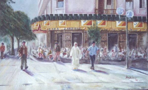 Landscape Poster featuring the painting Cafe Zanzibar. Fez by Karim Baziou