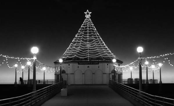 Manhattan Pier Poster featuring the photograph Christmas Lights On Manhattan Pier B And W by Michael Hope