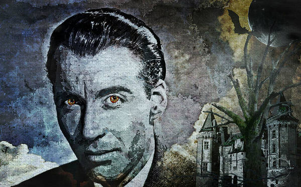 Christopher Lee Poster featuring the digital art Christopher Lee by Absinthe Art By Michelle LeAnn Scott