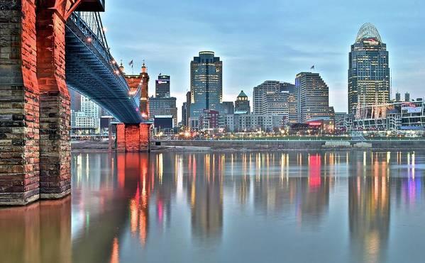 Cincinnati Poster featuring the photograph Cincinnati At Dusk by Frozen in Time Fine Art Photography