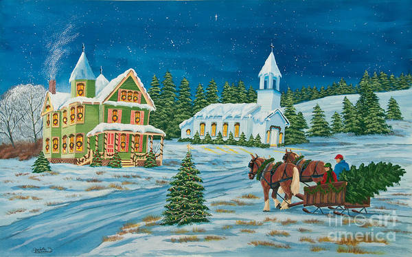 Winter Scene Paintings Poster featuring the painting Country Christmas by Charlotte Blanchard