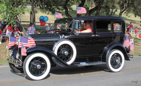 Antique Car Poster featuring the photograph Crusin On The 4th by Kurt Gustafson