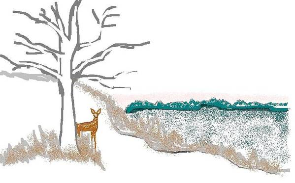 Deer Poster featuring the digital art Deer In Snow by Carole Boyd