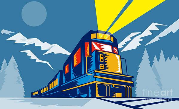 Diesel Train Poster featuring the digital art Diesel Train Winter by Aloysius Patrimonio