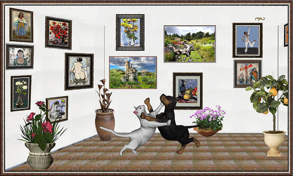 Modern Painting Poster featuring the mixed media Digital Exhibition _ Dancing Lovers by Pemaro