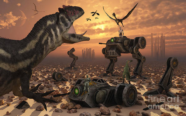 Digitally Generated Image Poster featuring the digital art Dinosaurs And Robots Fight A War by Mark Stevenson