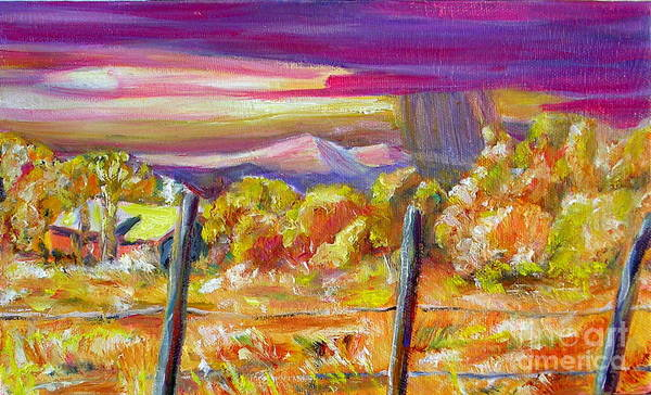 Landscapes Of New Mexico Poster featuring the painting Fall Skies In Nm by George Chacon