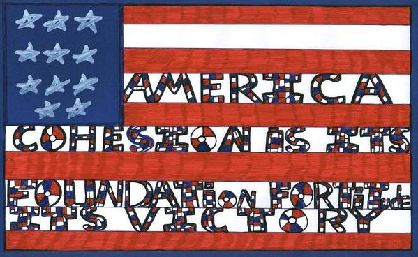Darrell Black Poster featuring the drawing Flag Two by Darrell Black