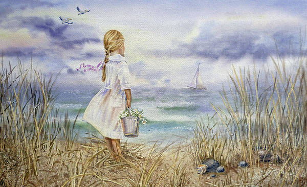Girl Poster featuring the painting Girl And Ocean Watercolor by Irina Sztukowski
