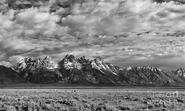 B&w;b+w;black & White;black;white;monochrome;grand Teton;wyoming;mountains;clouds;atmospheric;grand Tetons;scenic;landscape;summer;landscapes;scenics;cloudscape;nature;sandra Bronstein;fine Art;photography;photographs;horizontal;horizontals;monochromes;black And Whites;iconic;tourism;travel;west;western United States;out West;snowcapped;western Landscape;prints;canvas;acrylic;metallic;metal;greeting Cards;notecards;national Park;national Parks;landmark;landmarks; Poster featuring the photograph Grand Teton Majesty by Sandra Bronstein