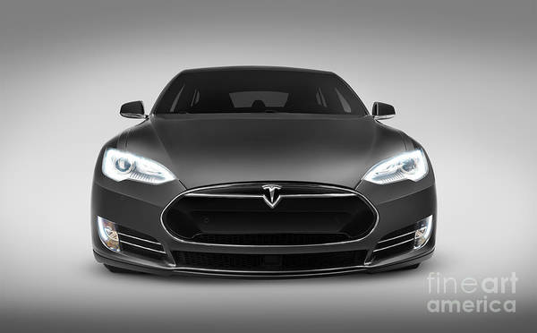 Gray Tesla Model S Luxury Electric Car Front View Poster By Oleksiy