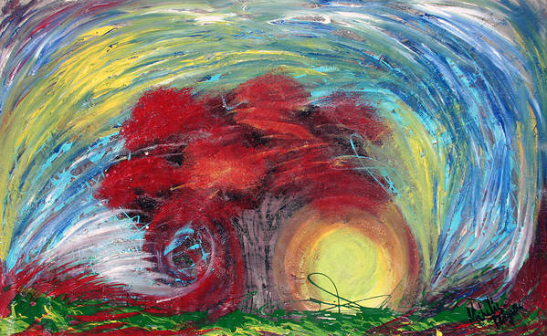 The Tree Poster featuring the painting Havoc Winds And Strong Tree by Michelle Teague