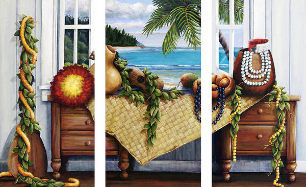 Acrylic Poster featuring the painting Hawaiian Still Life With Haleiwa On My Mind by Sandra Blazel - Printscapes