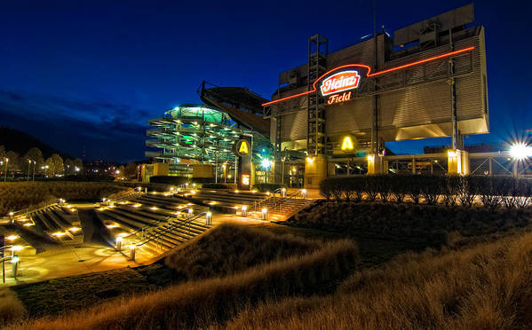 Heinz Field Poster featuring the photograph Heinz Field At Night by Mark Dottle